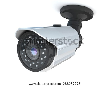 CCTV camera on white background (done in 3d) - stock photo