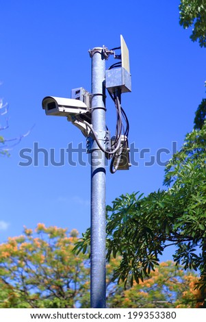 CCTV camera security - stock photo
