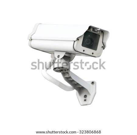 CCTV camera security isolated white background.