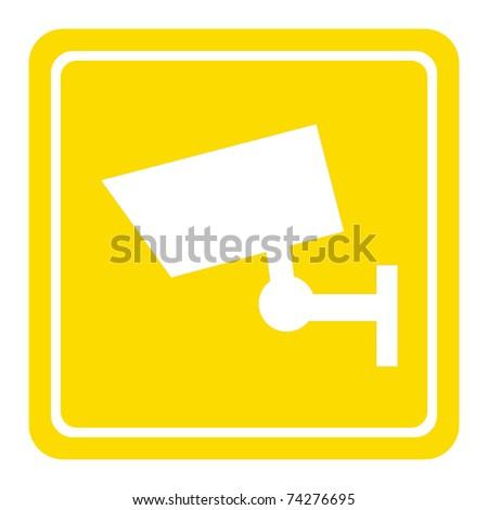 CCTV camera sign or symbol; isolated on white background. - stock photo