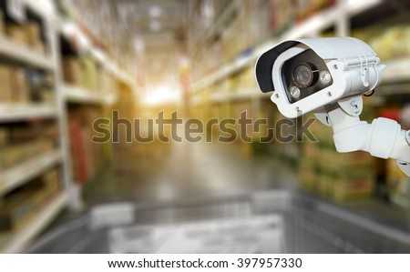 CCTV camera system security in shopping mall supermarket blur background.