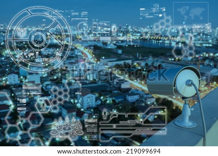 CCTV Camera technology on screen display - stock photo