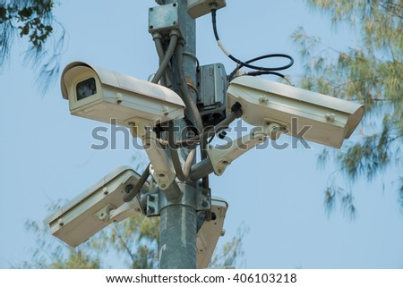 CCTV cameras installed at the intersection for record events