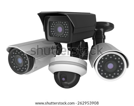 CCTV cameras on white background (done in 3d) - stock photo