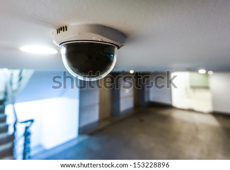 CCTV in building in front of elevator