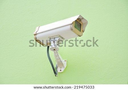 CCTV On Wall and Green Background