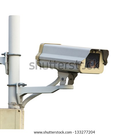 CCTV or security camera, a protection technology isolated over white background - stock photo