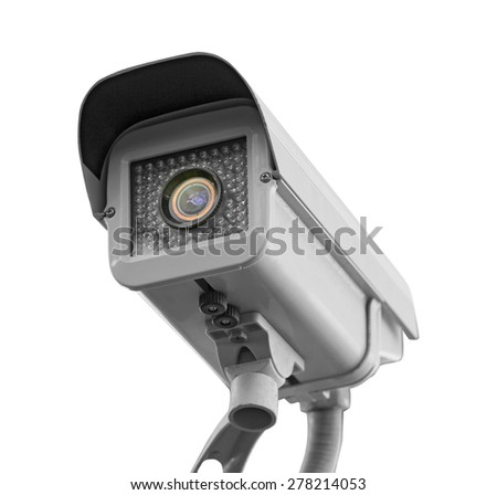 CCTV Security camera isolated white background.