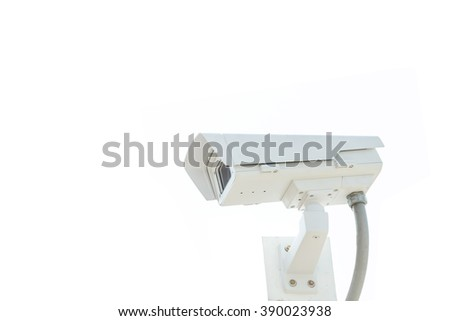 CCTV security camera on white background.