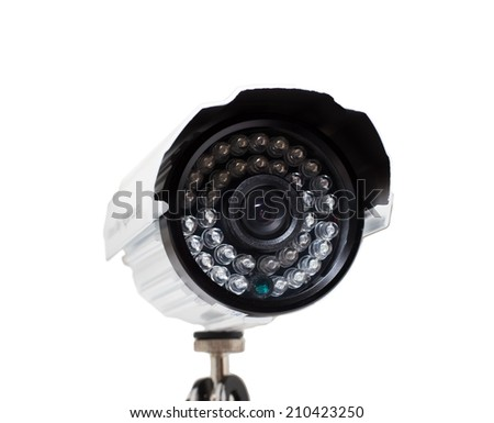 CCTV security camera on white background in  small depth of field - stock photo