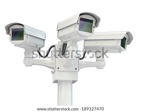 CCTV security camera on white isolated background. 3d - stock photo