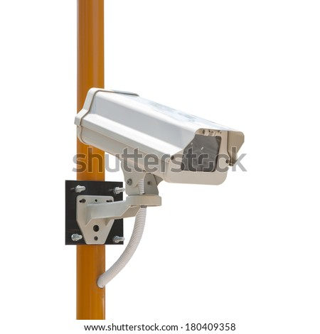 CCTV Security Camera with installation (Isoloated on white background) - stock photo