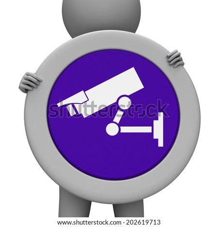 Cctv Sign Representing Camera Surveillance And Security