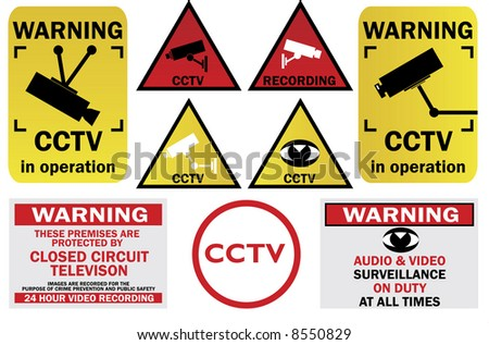 CCTV signs and warnings - check my gallery for other CCTV pack or VECTOR file directly - stock photo