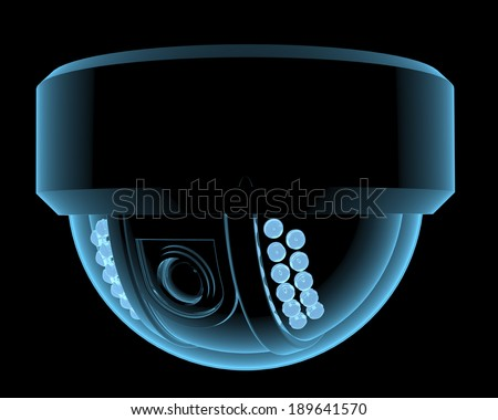 Cctv surveillance camera x-ray blue transparent isolated on black - stock photo