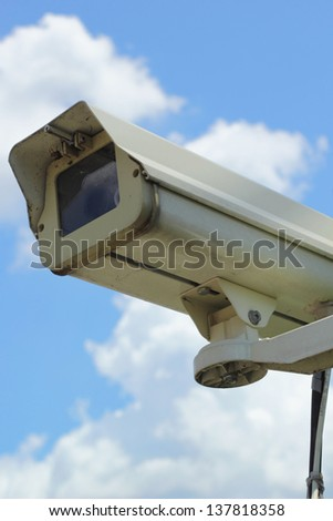 cctv with sky - stock photo