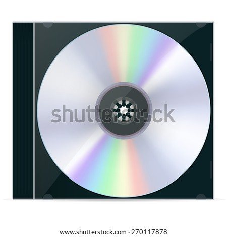 CD Box with compact disc. Isolated on white background. Raster version - stock photo
