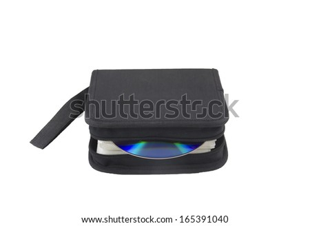 CD case with one compact disc, isolated, close up - stock photo