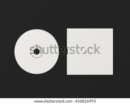 CD disc and carton packaging cover template mock up. Digipak case of cardboard CD drive. With white blank for branding design or text. Isolated on black background. High resolution 3d illustration.
