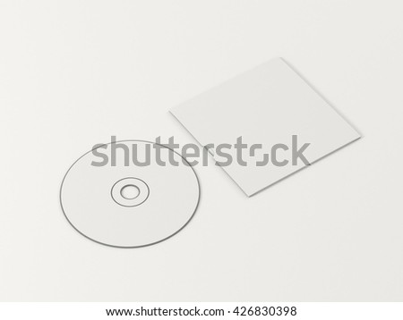 CD disc and carton packaging cover template mock up. Digipak case of cardboard CD drive. With white blank for branding design or text. Isolated on white background. High resolution 3d illustration. - stock photo