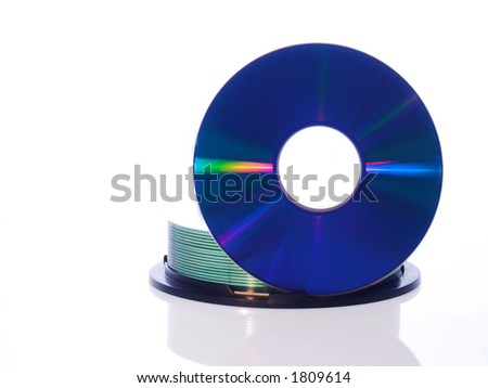CD disc on white background - stock photo