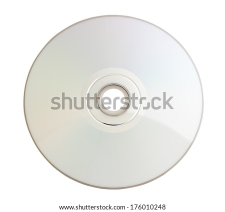 cd disc on white background, close-up, isolated