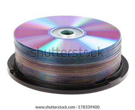 Cd disc on white background, close-up, isolated - stock photo
