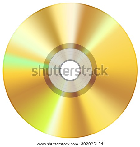 CD disc yellow - stock photo