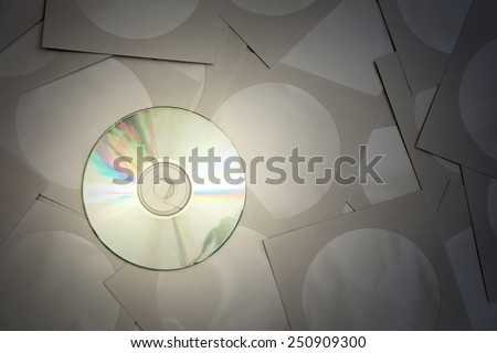 Cd disk and paper bags for cd - stock photo