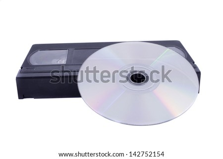 CD-disk and videotape - stock photo
