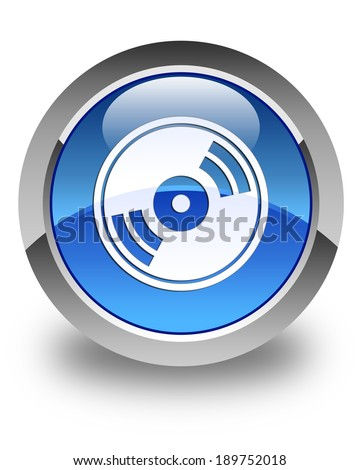 CD / DVD / Blu-ray icon glossy blue round button - stock photo