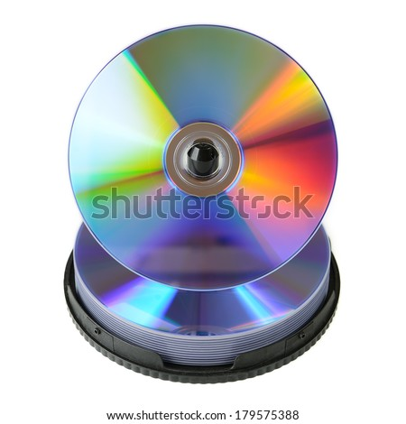 CD & DVD disk isolated on white background - stock photo