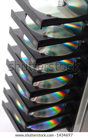 CD/DVD Duplicator with 8 Discs - stock photo