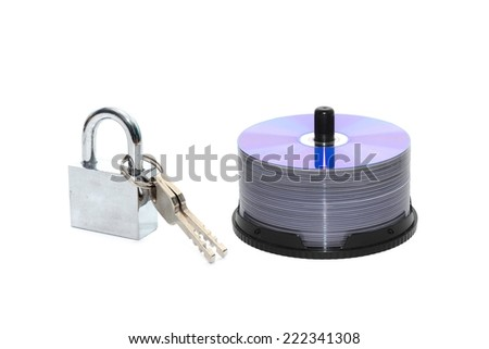 CD DVD media locked with a padlock isolated background  - stock photo
