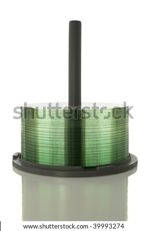 CD/DVD Spindle isolated on white with clipping path - stock photo