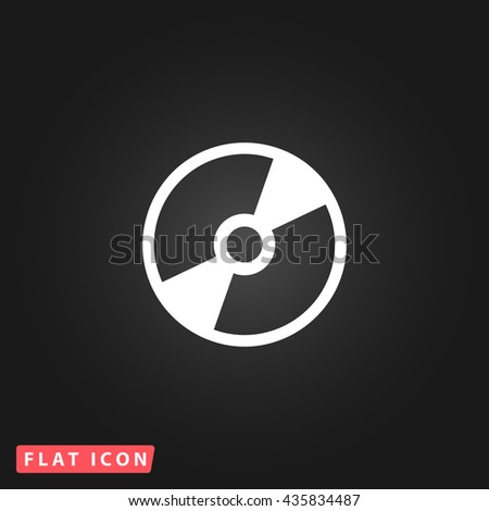 CD DVD White flat icon on dark background. Simple illustration pictogram