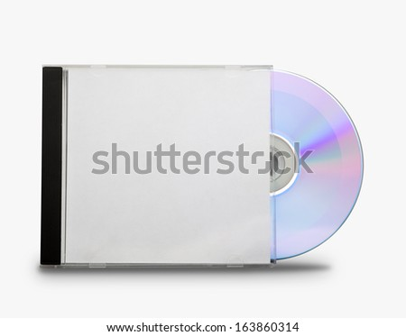 CD in the open box  on white background - stock photo