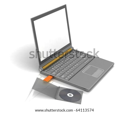 CD lies next to a notebook in which the inserted flash drive. isolated on white