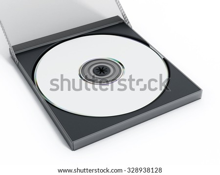 CD or DVD case with blank media isolated on white background.