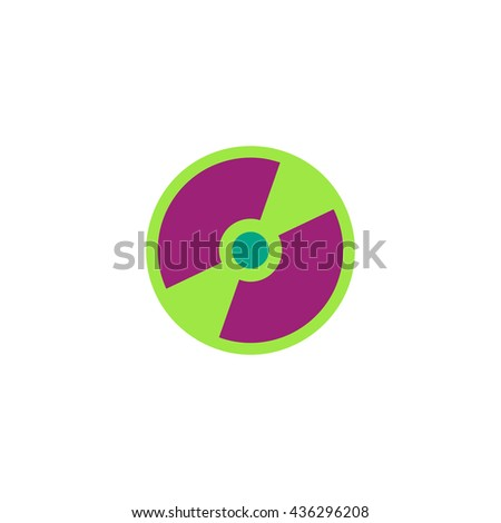 CD or DVD. Color simple flat icon on white background - stock photo