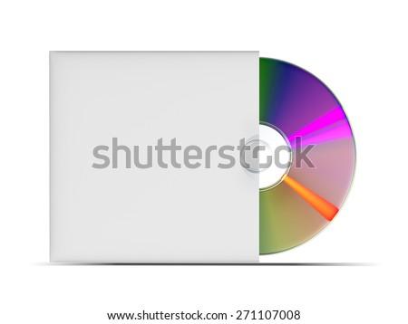 CD or DVD disk on white background, illustration - stock photo