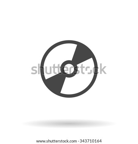 CD or DVD. Flat icon on grey background with shadow - stock photo
