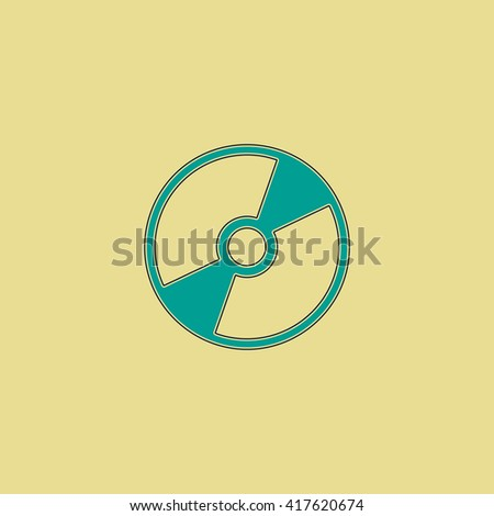 CD or DVD. Grren simple flat symbol with black stroke over yellow background - stock photo