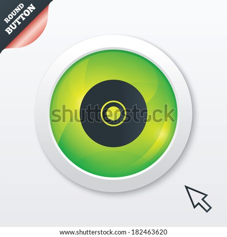 CD or DVD sign icon. Compact disc symbol. Green shiny button. Modern UI website button with mouse cursor pointer. - stock photo