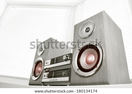CD player against the windows - stock photo