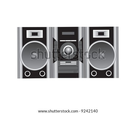 CD player and speakers illustration.
