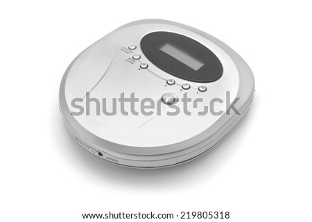 cd player isolated on white - stock photo