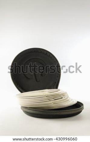 CD pocket for cushioning on white background. - stock photo