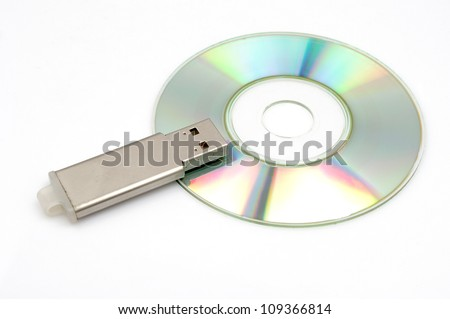 CD-ROM and U disk - stock photo