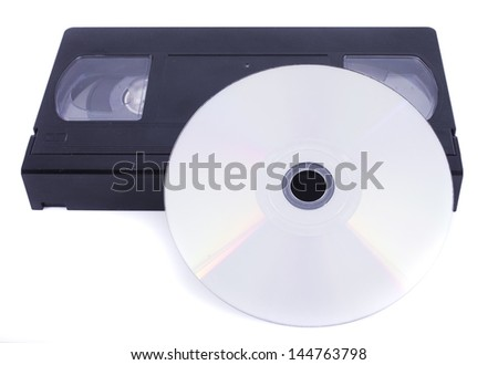 CD-ROM and videotape - stock photo